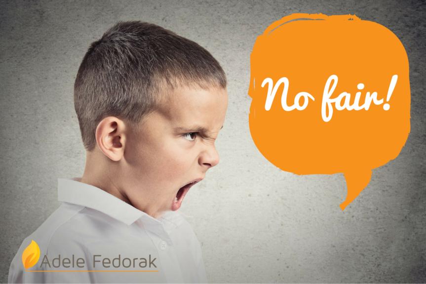 A boy yelling No Fair!