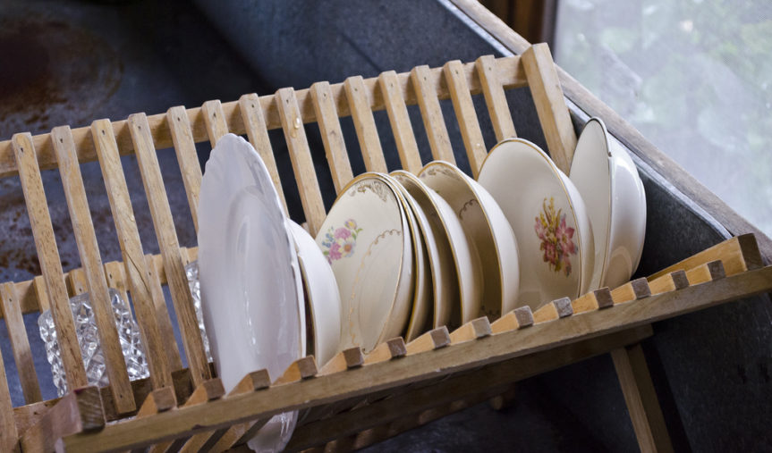dishes drying in the sink